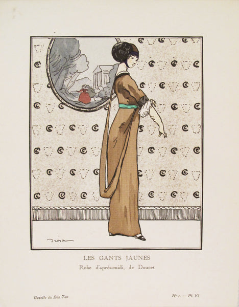 1912 Gazette du Bon Ton Art Deco Fashion Plate, Gants Jaunes