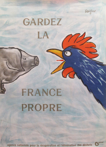 1989 Original French Poster - Gardez la France Propre - Savignac