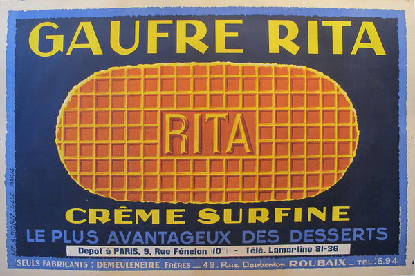1925 Original Horizontal French Food Poster, Gaufre Rita Waffle