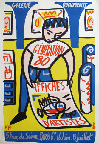 1988 French Exhibition Poster, Generation 80, Affiches d'artistes