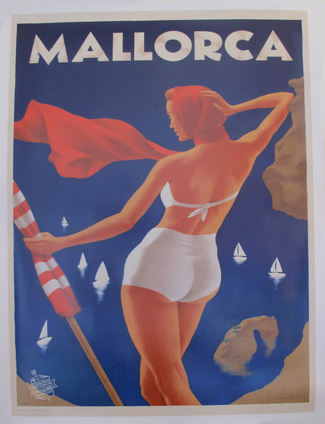 2018 Modern Travel Mallorca Poster, Girl in the white bikini