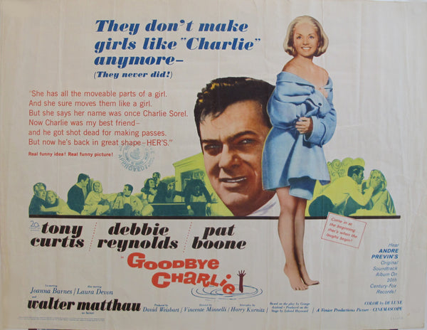 "1964 Original American Movie Poster - ""Goodbye Charlie"" with Tony Curtis & Debbie Reynolds"