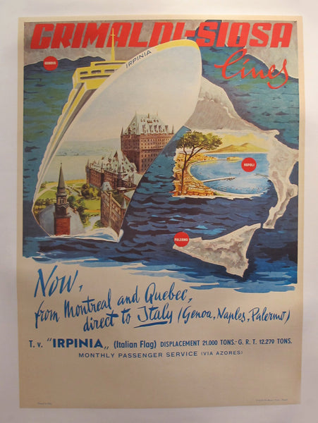 "1960's Original Vintage Italian Grimaldi Siosa Lines + Rosanna Schiaffino poster - ""Now, from Montreal and Quebec, direct to Italy"" (Linen Backed)"