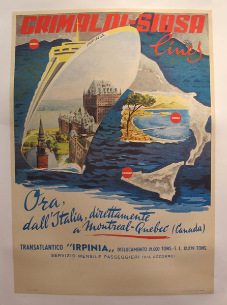"1960's Original Vintage Italian Grimaldi Siosa Lines + Rosanna Schiaffino poster - ""Now, from Montreal and Quebec, direct to Italy"" (Linen Backed, Italian Version)"