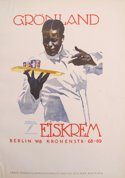 1926 Original German Art Deco Poster, Grönland Eiskrem (Man with Tray of Ice Cream)