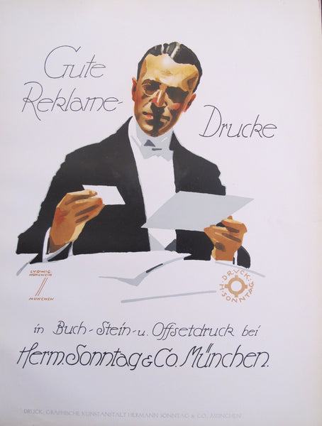 1926 Original German Art Deco Poster, Gute Reklame-Drucke (Print House)