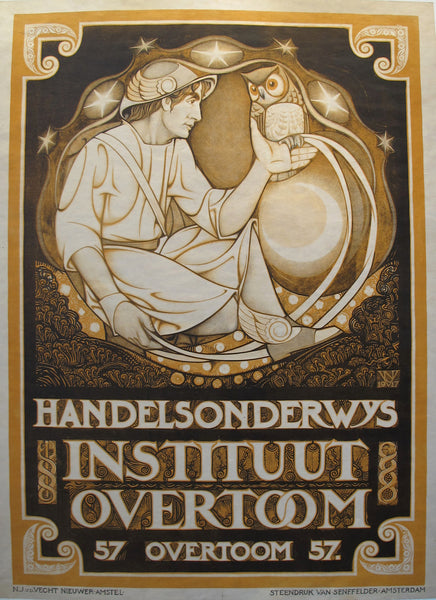 1917 Original Dutch Art Nouveau Poster, Instituut Overtoom/ Handelsondervys - van der Vecht