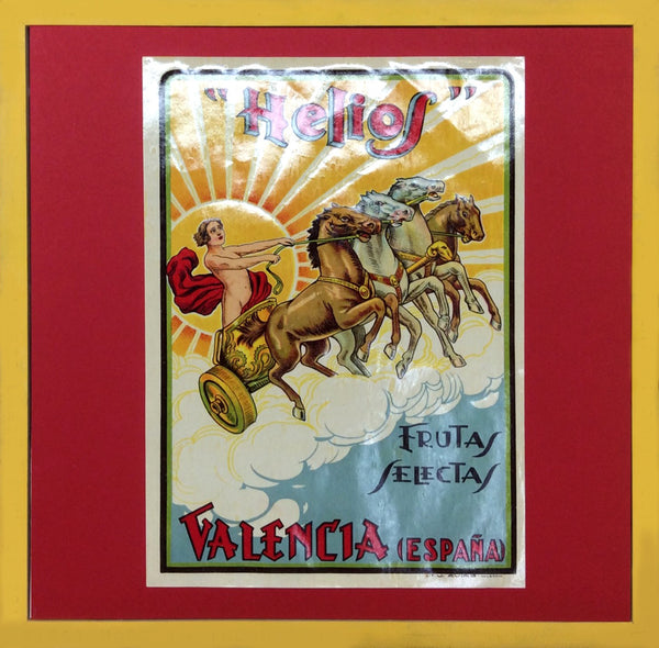 1920's Original Vintage Spanish Fruit Crate Label - Helios (Lady with horses on carriage, Yellow frame)