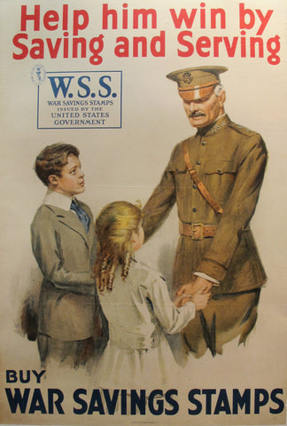 1918 Original American Propaganda Poster, Help Him Win by Saving and Serving