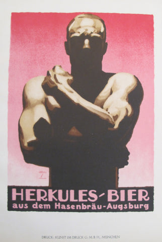 1926 Original German Art Deco Poster, Hercules-Bier (Beer)