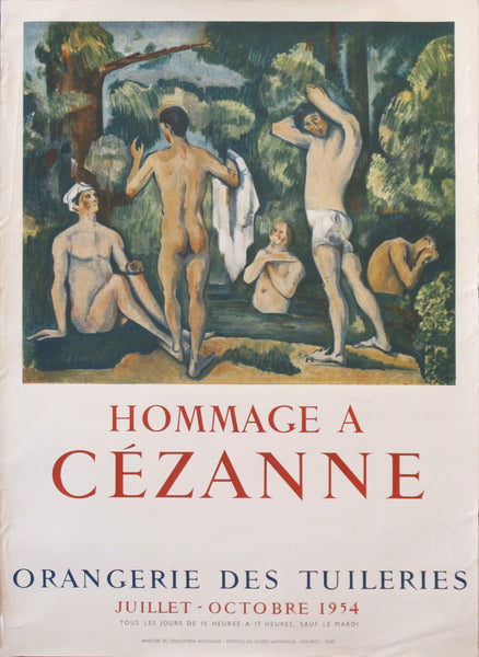1954 Original French Exhibition Poster, Hommage à Cezanne, Orangerie des Tuileries