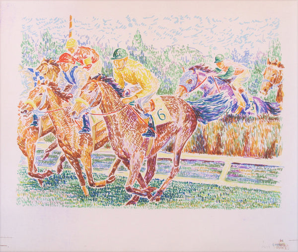1960s Horse Race Lithograph
