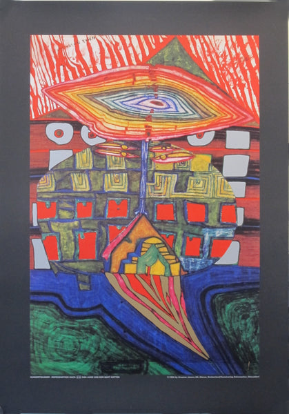 "1998 Original Exhibition Poster - ""The Eye and Beard of God"" by Hundertwasser"