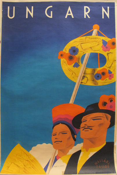 1930s Original Hungarian Travel Poster, Ungarn (May Day Celebration)