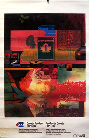 1986 World's Fair Poster in Vancouver, Canadian Pavillion, John A. Macdonald  by MacLeod