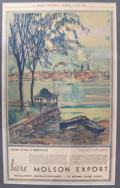 1935 Original Montreal Canadian La Presse Newspaper Advertisement, Matted, Saint-Jean d'Iberville