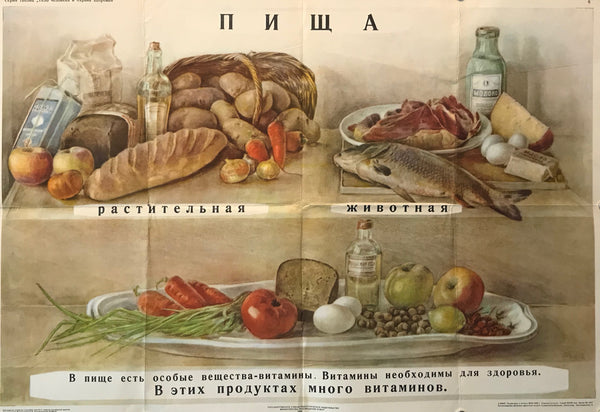 1953 Original Russian Poster, Nutritional Education Poster (Balanced Diet)
