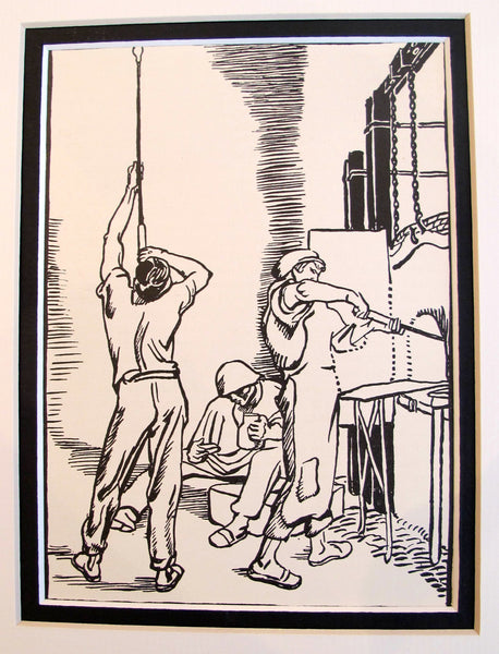 1921 Original German Illustration - Glassblower's Studio