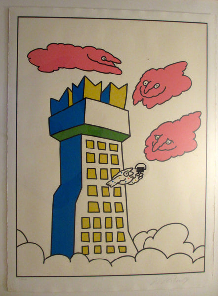 1989 Original Artist Proof (15/100) by Vittorio Fiorucci (Tower with Pink Clouds)