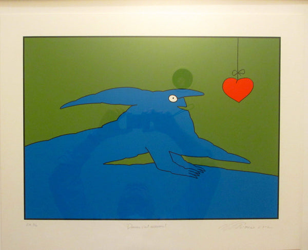 2002 Original Artist Proof by Vittorio Fiorucci, Donner C'est Recevoir (Blue Character on Green Background)