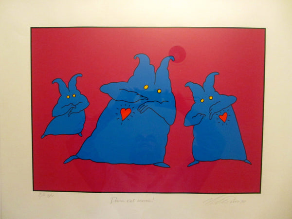 1998 Original Artist Proof by Vittorio Fiorucci, Donner C'est Recevoir (Three Blue Characters)