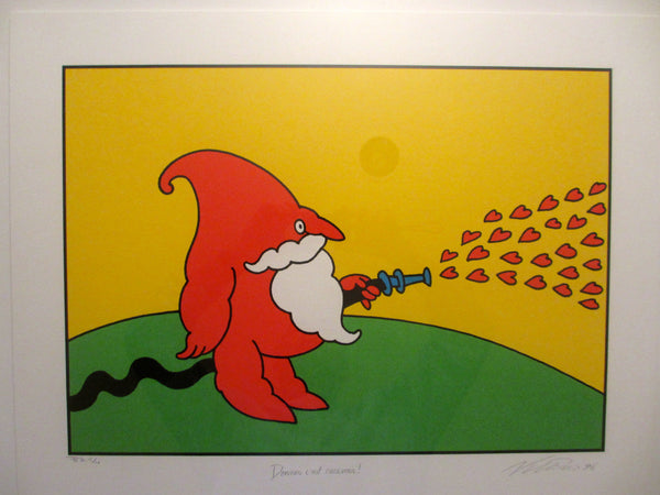 1996 Original Artist Proof by Vittorio Fiorucci, Donner C'est Recevoir (Red Bearded Character with Hearts)