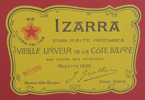 1900 Original Framed Wine Label, IZARRA 1835