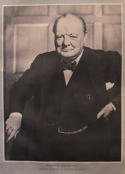 1940s Original French WWII Propaganda Poster, Winston Churchill