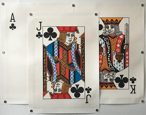 1967 Original Vintage Playing Card Posters - King, Jack, Ace (Set of 3)