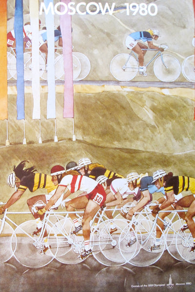 1980 Original Vintage Russian Poster of the Moscow XXII Summer Olympics, Cycling