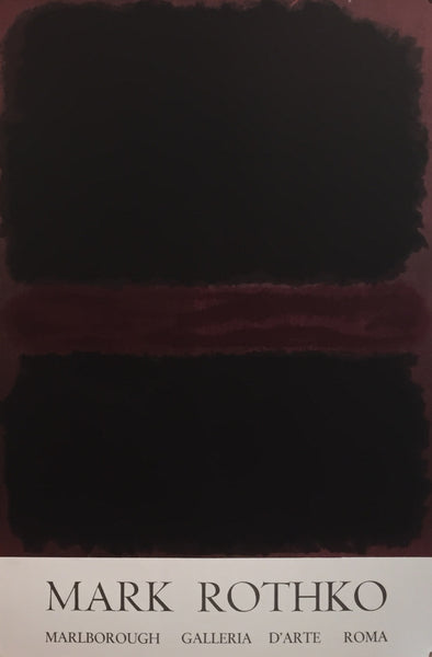 1960s Original American Poster, Marlborough Galerie D'Arte, Black on Dark Sienna on Purple - Rothko
