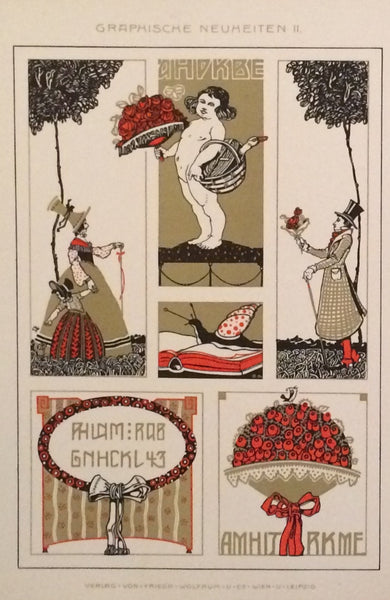 1900 Original German Art Nouveau Decorator Sheet, Cherubs (Set 321)