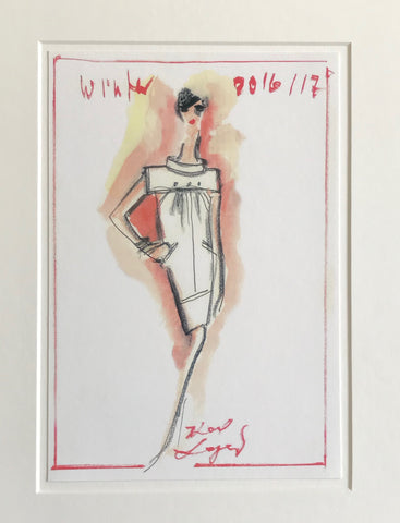 2016/2017 Original Fashion Sketch Poster, Winter Collection - Karl Lagerfeld (Collared Shift Dress)