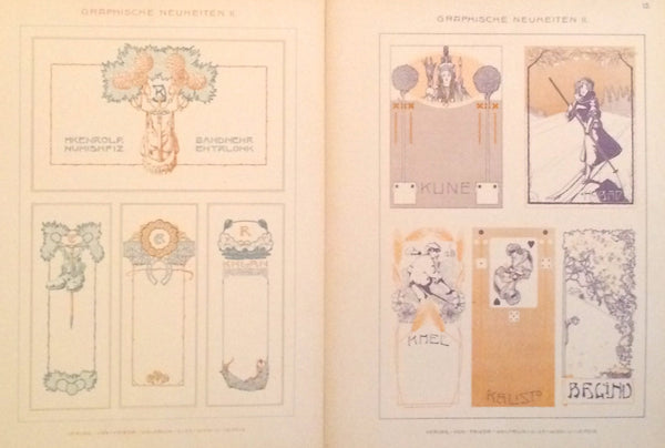 1900 Original German Art Nouveau Posters, Delicate Lettering (Set of 2) - Wolfrum & Co.