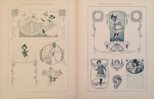 1900 Original German Art Nouveau Posters, Graphische Neuheiten, S/2 Delicate Ladies, #308