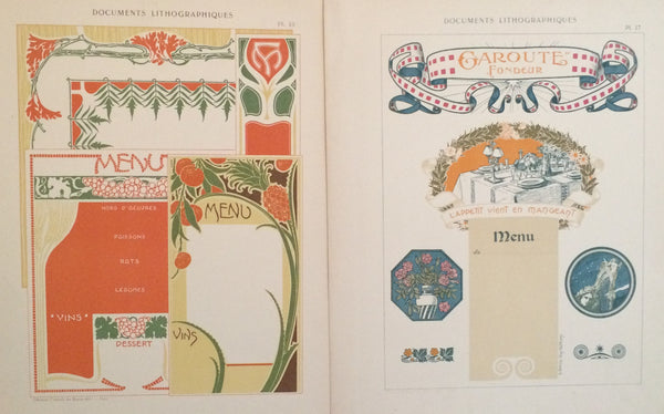 1900c. Belle Epoque Design Sheets, Documents Lithographiques Plate #17 + 10