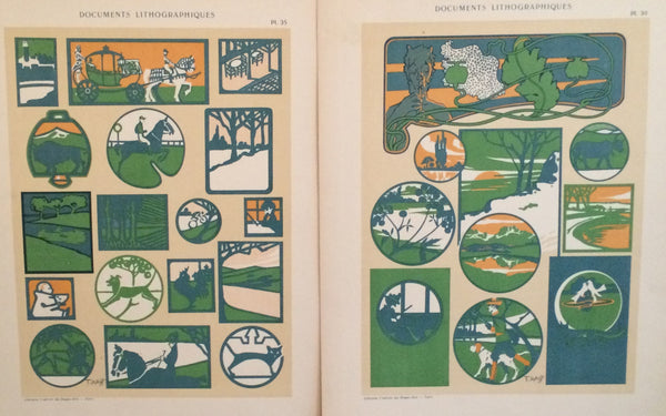 1900c. Belle Epoque Design Sheets, Documents Lithographiques Plate #30 + 35