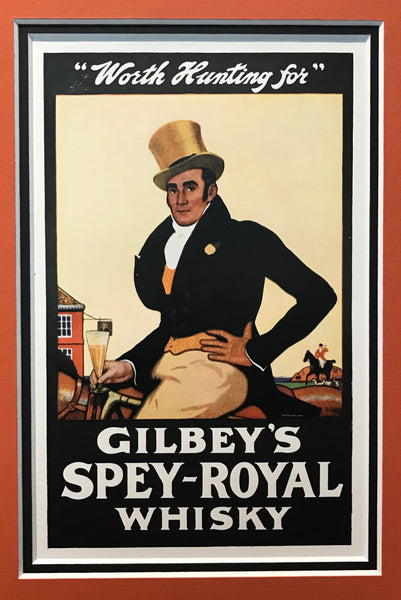 "1920s Vintage British Art Deco -Gilbrey's Spey-Royal Whisky (""Worth Hunting For"")"