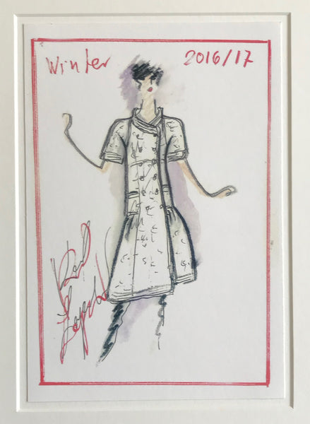 2016/2017 Original Fashion Sketch Poster, Winter Collection - Karl Lagerfeld (Black Accented Coat)