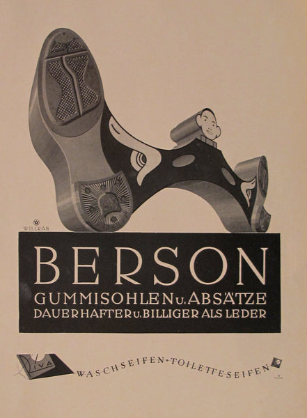 1923 Austrian Art Deco Poster, Berson Rubber Soles - Willrab