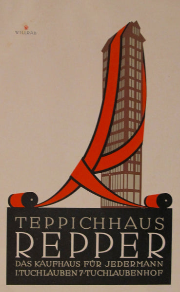 1923 Austrian Art Deco Poster, Teppichhaus Repper - Willrab