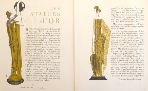 1920 French Art Deco Poster, Gazette du Bon Ton, Les Statues D'Or (set of 2)