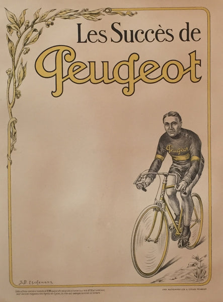 1910 Original French Cycling Poster, Peugeot