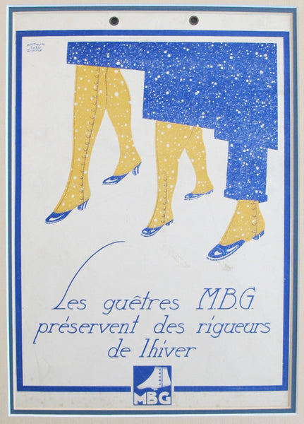 1920's Original French Art Deco Poster, Les Guêtres MBG