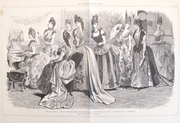 1880s Moniteur de la Mode, Parisian Ladies Fashion Double Page Spread B/W