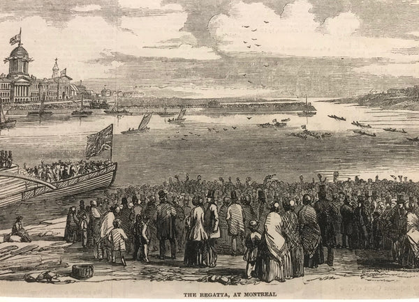 1860s Engraving, London Illustrated News, The Regatta at Montreal