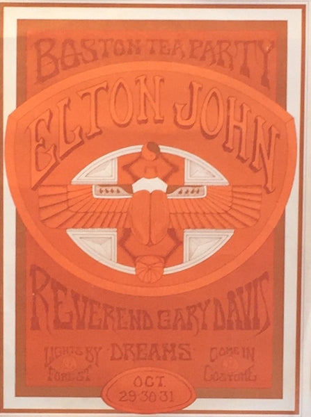 1970 Elton John Live Concert Boston Tea Party Poster - Ravioli Graffiti