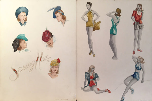 1940's Original Ladies Fashion Illustrations, 'Spring Hats' - Goldenberg