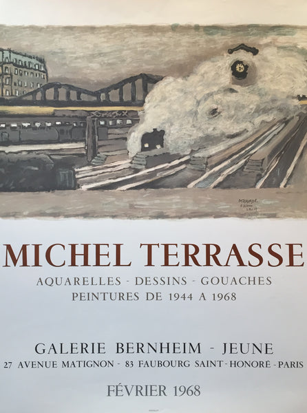 1968 Original French Exhibition Poster, Galerie Bernheim-Jeune - Terrasse, Michel