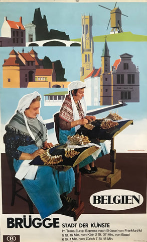 1960 Original Belgian Advertising Poster,Bruges (Brügge), Pair of Women Lace-making